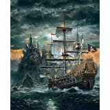 5D DIY Diamond Painting Pirate Ship Full Square Diamond Embroidery Landscape Castle Cross Stitch Mosaic 30x40cm