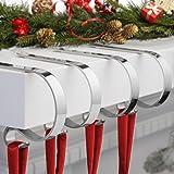 Christmas Stocking Holders for Mantle,4 Pack Adjustable Stocking Holder Non-Skid Stocking Hangers Lightweight Stocking Hooks