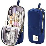 iSuperb Stand Up Pencil Case Canvas Pencil Holder Phone Holder Mobile Phone Bracket Function Desk Organizer Makeup Cosmetic B