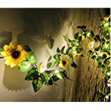 MeeDoo 20 LED Artificial Sunflower Garland String Lights, 6.56ft Silk Sunflower Vines with 9 Flower Heads Battery Operated Fa