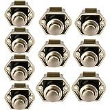 OCGIG 10 RV Cabinet Push Button Latch Locks Catch Door Knobs Gold for Caravan Cupboard Handle Nickel Plated