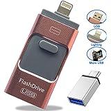 iPhone USBメモリ 32GB 64GB 128GB フラッシュドライブ iPhone/Android/PC対応 4in1 スマホ 容量不足解消 日本語取扱説明書付き (128GB)