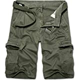 Basic Model Men's Cotton Relaxed Fit Multi Pocket Outdoor Casual Cargo Shorts (No Belt)