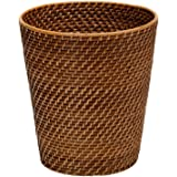 """KOUBOO 1030011 Round Rattan Waste Basket, 10.25"""" x 10.25"""" x 11"""", Honey Brown"""