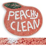 RORA Bath Rug for Kids Coral Pink Peach Shape with White Words Cartoon Plush Water Absorbent Bathroom Decor Mat Bathtub Bathr