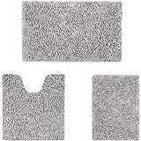 HOMEIDEAS Microfiber Absorbent Bath Rug, Chenille Washable Floor Mat -Non Slip Soft Carpet Modern Light Gray