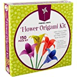 Kids Origami Paper Folding Kit: Girls Multi Color Foldable Paper Sheets For Flowers With Decorative Charms & Accessories - Cr