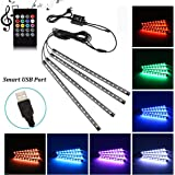 Car LED Strip Light, Uniwit 4 Pcs Multicolor Music Car Interior Atmosphere USB Lights for Car TV Home with Sound Active Funct