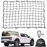Cargo Net MICTUNING 5'x7' Heavy Duty Car Net Truck Bed Bungee Nets Stretches to 10'x14' with 16pcs D Shape Aluminum Carabiner