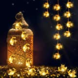 Moon Star String Lights for Eid Decorations, 6.6 ft 20 LEDs Ramadan Festival Lights, Fairy String Lights Battery Operated Ind