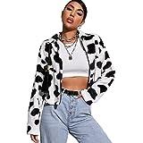 MakeMeChic Women's Casual Printed Zip Up Drop Shoulder Long Sleeve Jacket