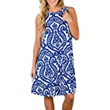 Tanst Women Summer Sleeveless Damask Print T-Shirt Dress Pockets(FBA)