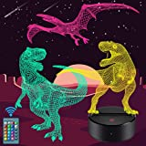 Dinosaur Night Light for Kids - 3D Dinosaur Lamp 16 Colors Optical Illusion Touch & Remote Control with 3 Acrylic Flats Best