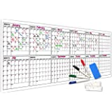 """Scribbledo Jumbo Dry Erase Yearly Calendar 100"""" X 36"""" 12 Month Reusable Wall Planner Includes 4 Markers 1 Eraser and Mounting"""