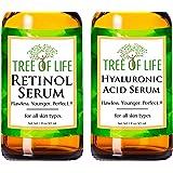Anti Aging Serum Two-Pack - 98% Natural, 72% Organic Anti Wrinkle Serum - Retinol Serum - Hyaluronic Acid Serum