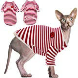 DENTRUN Hairless Cats Shirt Cat Wear Clothes Stripe Vest Best Hairless Cat's Adorable Clothes Cat's Pajamas Jumpsuit for All
