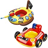 2 Pack Inflatable Kids Pool Float with Water Gun, Firetruck and Pirate Ship Pool Floats for Toddler, Blow Up Swimming Pool To
