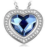 NINASUN Gifts for Her 925 Sterling Silver Heart Designed Pendant Necklace Fine Jewelry, Denim Blue Crystals from Swarovski