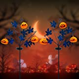 OBABA 30 Inches Solar Halloween Pathway Lights,2 Pack Pumpkin Decorations Outdoor LED Solar Powered Lighting Metal Decorative