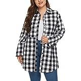 Hanna Nikole Womens Plus Size Flannel Plaid Shirts Roll Up Long Sleeve Casual Boyfriend Shirts