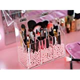 Newslly Clear Acrylic Makeup Organizer with 3 Brush Holder Compartment and Dustproof Lid, Cosmetic Brush Storage Box with Pin