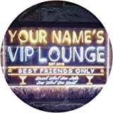 Personalized Your Name Est Year Theme VIP Lounge Bar Club Pub Dual Color LED Neon Sign White & Yellow 300 x 210mm st6s32-qi1-