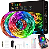 Waterproof Led Strip Lights 50ft, Led Lights for Bedroom with Remote and Bluetooth App Control, Music Sync RGB Color Changing