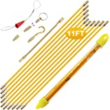 Boeray 11' Fiberglass Running Electrical Wire Cable Pulling Fish Tape kit with 5 Different attachments in a Carrying Case
