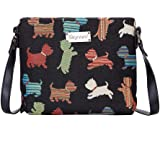 Black Scottie Dog Women's Fashion Tapestry Mini Satchel Cross-body Purse Bag with Adjustable Strap also as Small Shoulder Bag