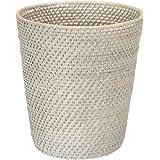 """KOUBOO 1030041 Round Rattan White Wash Waste Basket, 10.25"""" x 10.25"""" x 11"""""""