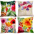 Decorative Throw Pillow Cover 18x18, Cotton Linen Pillow Cushion Cases for Couch, Sofa, Bed (Insert Not Included) - Flower Wo