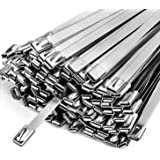Metal Zip Ties,100 Pcs 11.8 Inch,304 Stainless Steel Exhaust Wrap Heavy Duty Locking Cable Wire Tie-Suitable for Outdoor farm