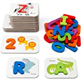 Coogam Numbers and Alphabets Flash Cards Set - ABC Wooden Letters and Numbers Animal Card Board Matching Puzzle Game Montesso