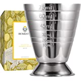Homestia Measuring Cup Cocktail Jigger Stainless Steel Liquid Mini Espresso Shot Glass Up to 2.5oz, 5Tbsp, 75ml,Silver
