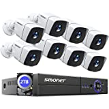 【5MP】 8CH Security Camera System,SMONET 5-in-1 Video DVR Recorder with 2TB Hard Drive,Surveillance Security System with 8pcs