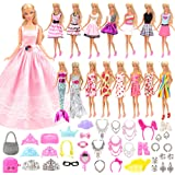 Barwa 55 Pcs Doll Clothes and Accessories Set EU CE-EN71 Certified Include 15 Clothes Party Grown Outfits + 40 Different Doll