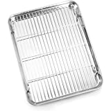 Bastwe Baking Sheet and Cooling Rack Set, Stainless Steel Commercial Grade Cookie Sheet and Rack Set, 12.5 x 10 x 1 inch, Hea