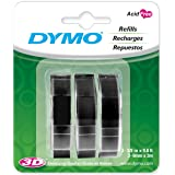 DYMO Embossing Tape, 9mm x 3m, Black, (Pack of 3)