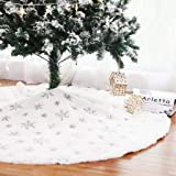 Kaximd Christmas Tree Skirt 30/36/49 inches Xmas White Tree Skirts Snowflake Embroidery for Christmas Decorations Holiday Par