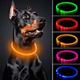 BSEEN LED Dog Collar - Cuttable Water Resistant Glowing Dog Collar Light Up, USB Rechargeable or Battery Powered Pet Necklace