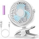 Stroller Fan, Cambond Clip On Fan Battery Operated Fan Rechargeable 2200mAh Battery, USB Cable, 3 Adjustable Speed, Desk Tabl