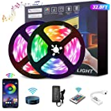 YOMYM LED Strip, LED Lights with Kit, Light Strip Controlled by Smart Phone, Wireless, WiFi 5050, Works with Android and iOS