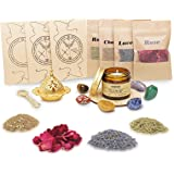 Soulnioi Witchcraft kit | sage Candles for Cleansing House+4 Herbs for Witchcraft +7 Healing Crystals, for Witchcraft-Dried H