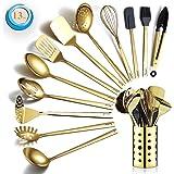 Gold Cooking Utensils Set, Berglander Stainless Steel 13 Pieces Kitchen Utensils Set With Titanium Gold Plating, Kitchen Tool