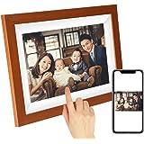 SCISHION木目調WiFiデジタルフォトフレーム 1280*800高解像度タッチスクリーン IPS視野角 16GB内部ストレージ 1080P写真/動画/音楽再生 家族/友人/彼女/彼氏などへのプレゼント装飾用—どこでもいつでも、アプリFrameo