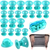 JANYUN 40 Pcs Cyan Magic Hair Curlers, 20 Pcs Large and 20 Pcs Small Silicone Curlers Rollers