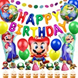 キャラクター誕生日飾り スーパーマリオ アルミ風船 男の子 子供 カラフルHappybirthdayバルーン カップケーキトッパー ゲームパーティー 部屋 お店装飾
