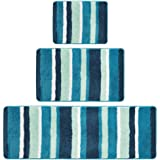 mDesign Striped Microfiber Polyester Spa Rugs for Bathroom Vanity, Tub/Shower - Water Absorbent, Machine Washable, Includes S