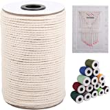 XKDOUS Macrame Cord 3mm x 109Yards, Natural Cotton Macrame Rope, Cotton Cord for Wall Hanging, Plant Hangers, Crafts, Knittin
