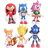 Sonic the Hedgehog Action Figures Cake Toppers, Sonic Figurines Collection Play set , Children Mini Toys Cupcake Toppers for